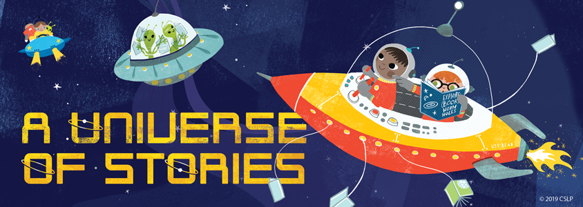 Summer Reading Club logo with people in spaceships