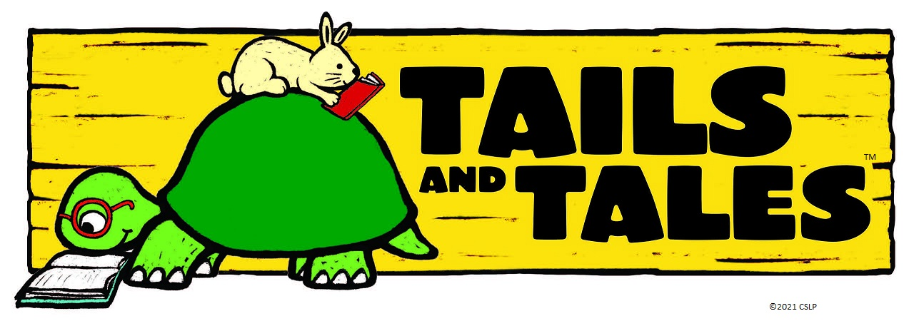 SRC logo - Tails and Tales - Bunny resting on Turtle with both reading books
