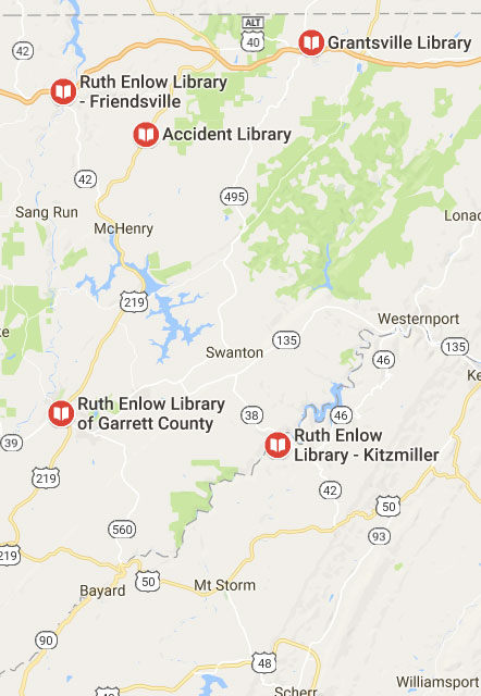 Map of Ruth Enlow Libraries