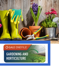 GOF logo with gardening tools (boots, gloves, scissors) and flowers