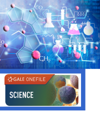GOF logo with science molecules with beakers