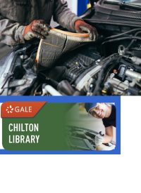 Chilton logo with mechanic under car hood
