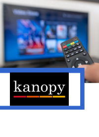Kanopy logo with movies on tv