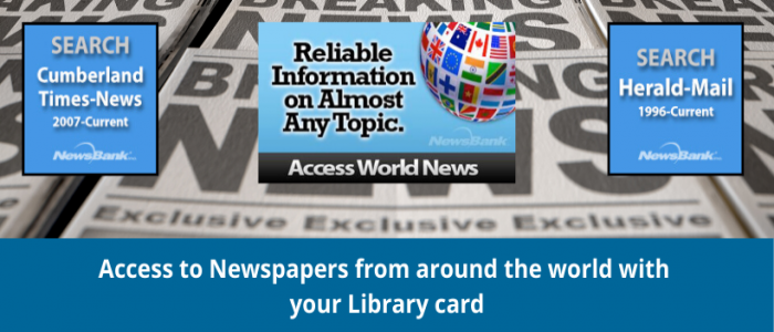 Newspaper background with icons to Newsbank database